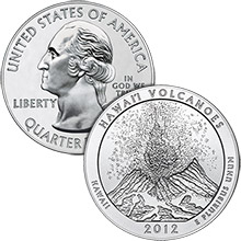2012 Hawaii Volcanoes - 5 oz Silver America The Beautiful in Air-Tite Capsule .999 Silver Bullion Coin