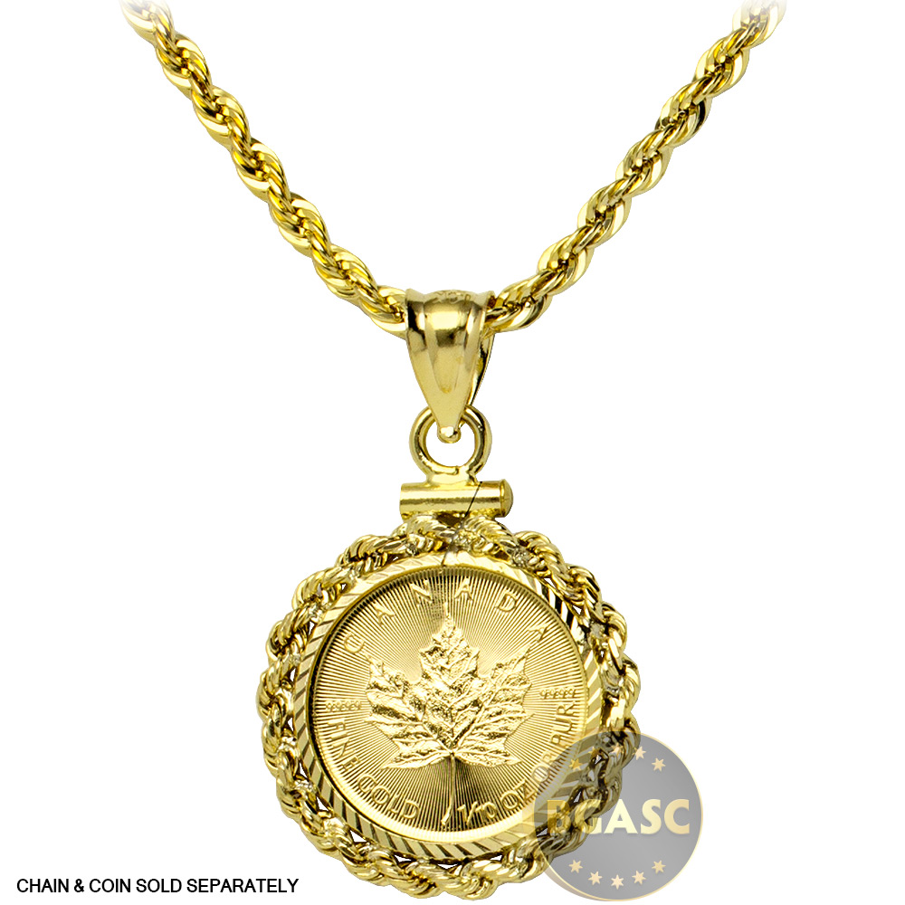 Buy solid 14k gold coin bezel pendant 110 oz gold maple leaf solid 14k gold coin bezel pendant image aloadofball Image collections