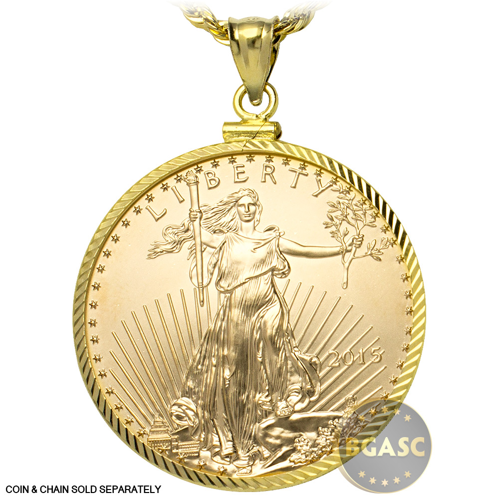 Buy solid 14k gold coin bezel pendant 50 1 oz gold eagle 327 solid 14k gold coin bezel pendant image aloadofball Images