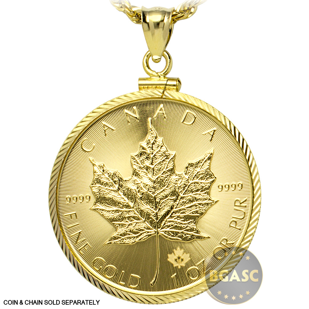 Buy Solid 14k Gold Coin Bezel Pendant 1 Oz Gold Maple