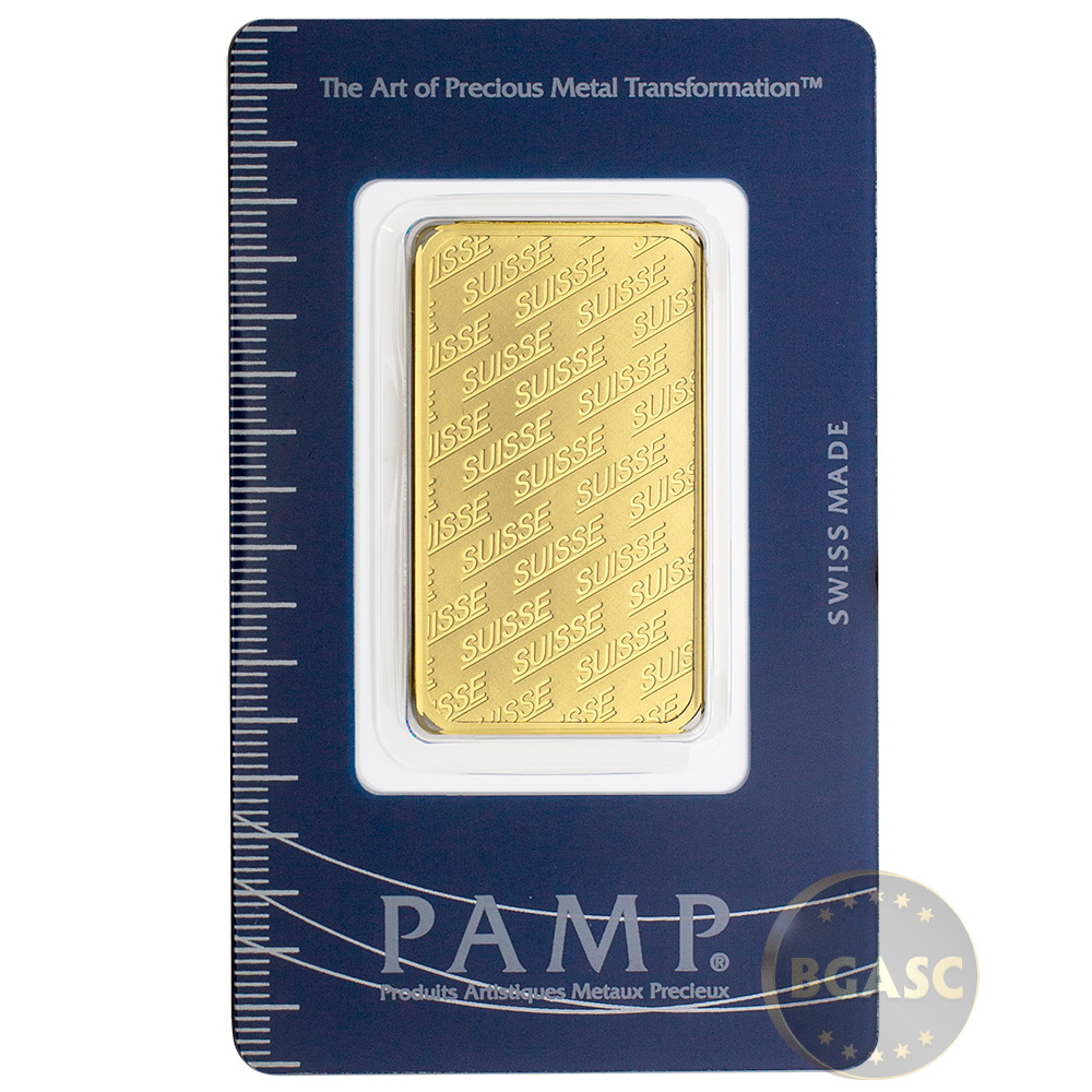 1 Oz Gold Bar Pamp Suisse Logo 9999 Fine 24kt In Assay