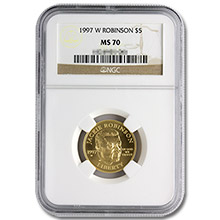 1997-W $5 Gold Jackie Robinson NGC MS70 Commemorative