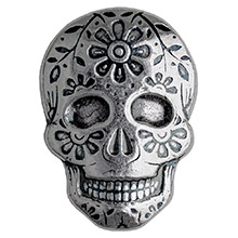 2 oz Silver Day of the Dead Sugar Skull Monarch Poured .999 Fine 3D Art Bar