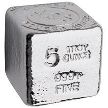 5 oz Silver Cube Yeager's Poured .999 Fine Silver Bullion