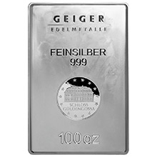 100 oz Silver Bar Geiger Security Line .999 Fine Bullion Ingot (Secondary Market, Mint Sealed)