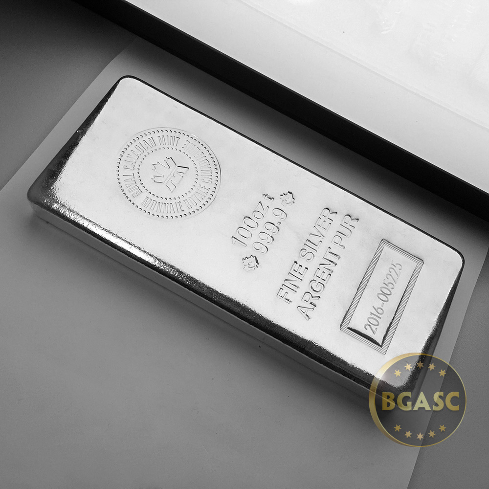 Buy 100 Oz Silver Bar Royal Canadian Mint Rcm 9999 Fine
