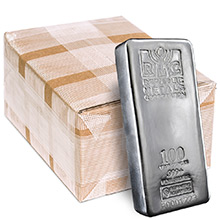 Monster Box of 100 oz Silver Bars Republic Metals RMC .999+ Fine Cast Bullion (5 Bars)
