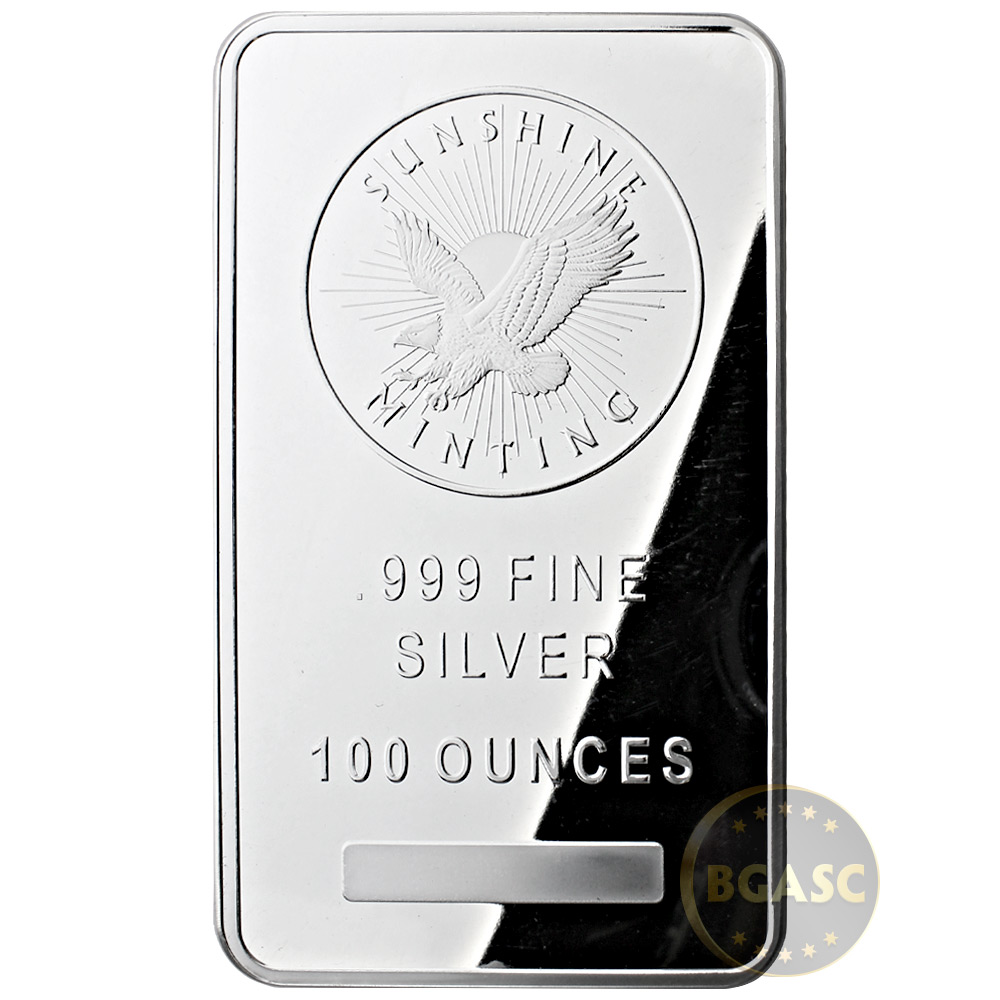 Buy 100 Oz Silver Bar Sunshine Minting 999 Fine Bullion