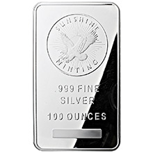 100 oz Silver Bar Sunshine Minting .999 Fine Bullion Ingot