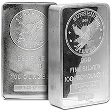 100 oz Silver Bar Sunshine Minting .999 Fine Bullion Ingot - Secondary Market