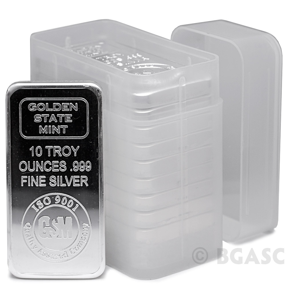 Buy 10 Oz Silver Bars Gsm Golden State Mint 999 Fine