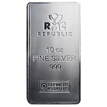 10 oz Silver Bars Republic Metals RMC Minted .999 Fine Bullion Ingot (V2)