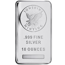 10 oz Silver Bars Sunshine Minting .999 Fine Bullion Ingot