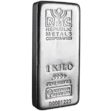 1 Kilo Silver Bar Republic Metals (32.15 troy oz) RMC .999+ Fine Cast Bullion Ingot