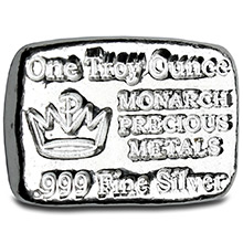 1 oz Silver Bars Monarch Hand Poured .999 Fine Bullion Loaf Ingot