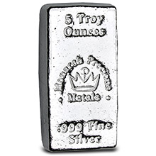 5 oz Silver Bars Monarch Hand Poured .999 Fine Bullion Loaf Ingot