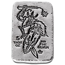 5 oz Silver Bars Monarch Viking Warrior with Shield Hand Poured .999 Fine Bullion Ingot