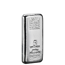 5 oz Silver Bars Republic Metals RMC .999+ Fine Cast Bullion Ingot