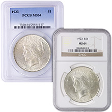 MS64 Graded Peace Silver Dollar Coins