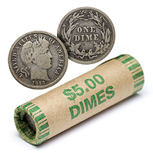 90% Silver Barber Dime Roll - 50 Coins 90 Percent Silver