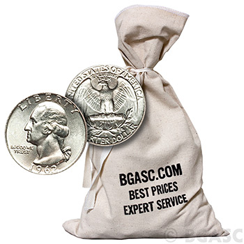90% Silver Coins $500 Face Value Bag in 90 Percent Junk Silver Quarters