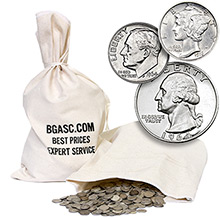 90% Silver Coins $100 Face Value 50/50 Junk Silver Bag (Dimes/Quarters Mix)