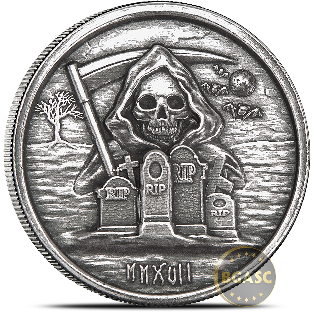 Buy 1 Oz Silver Rounds Monarch Grim Reaper High Relief