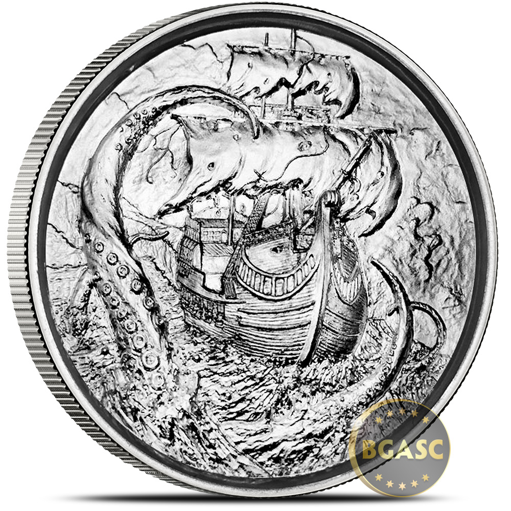 Buy 2 Oz Silver Rounds Kraken Privateer Ultra High Relief