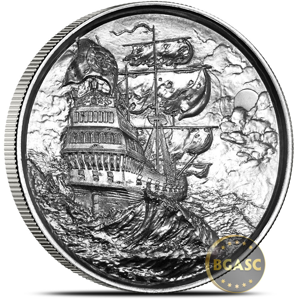 Buy 2 Oz Silver Rounds Privateer Ultra High Relief Pirate