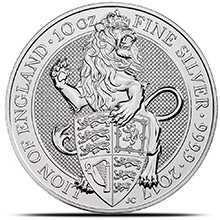 2017 10 oz Silver British Queen's Beasts Bullion Coin - The Lion (in Capsule)