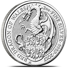 2017 2 oz Silver British Queen's Beasts Bullion Coin - The Red Dragon of Wales